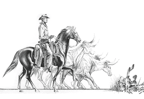 Working Drawing for 'Trail Driver' Design on Steuben Bowl